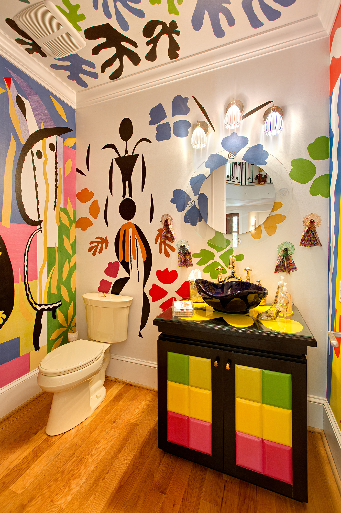 Colorful Half Bath by Front Entrance